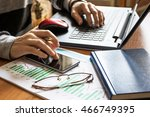businessman working on laptop... | Shutterstock . vector #466749395