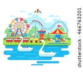 amusement park concept with... | Shutterstock .eps vector #466763201