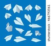 icon set of origami plane... | Shutterstock . vector #466793561