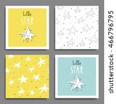set of 6 cute creative cards... | Shutterstock .eps vector #466796795