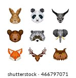 set of animals over white... | Shutterstock .eps vector #466797071