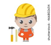 kids builder in helmet and... | Shutterstock .eps vector #466802654