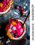 pink smoothie bowls with... | Shutterstock . vector #466808639