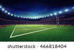 rugby stadium with green grass... | Shutterstock . vector #466818404