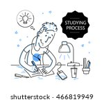vector flat studying boy... | Shutterstock .eps vector #466819949