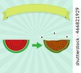 rotten watermelon with flies... | Shutterstock .eps vector #466821929