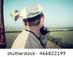 Small photo of Aeronautics. The pilot balloon. View from the balloon's basket. Amazing view from the height of the balloon. Summer beautiful fields lanscape from the bird's eye, sunrise. Ballooning