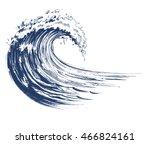 sea wave sketch. vector... | Shutterstock .eps vector #466824161