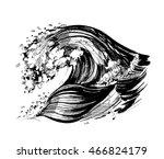 sea wave sketch. vector... | Shutterstock .eps vector #466824179