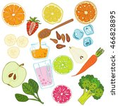 set of fresh hand drawn fruits... | Shutterstock .eps vector #466828895