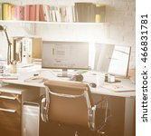 contemporary room workplace... | Shutterstock . vector #466831781
