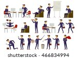 set of six vector illustration... | Shutterstock .eps vector #466834994