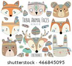 Stock vector woodland tribal animal faces and design elements vector 466845095
