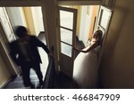 the young groom and his wife... | Shutterstock . vector #466847909