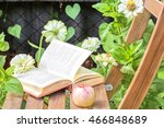 Apple And Open Book On Wooden...