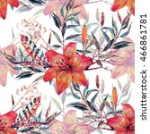 watercolor floral seamless... | Shutterstock . vector #466861781