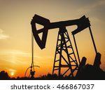 oil rig working on a golden... | Shutterstock . vector #466867037