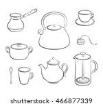 hand drawn outline tea items... | Shutterstock .eps vector #466877339