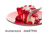 A fork slicing into a piece of cherry cheese cake on a white background - stock photo