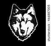 the white bristly wolf head on... | Shutterstock .eps vector #466887005