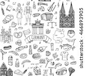 seamless pattern hand drawn... | Shutterstock .eps vector #466893905
