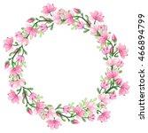 wreath with watercolor romantic ... | Shutterstock . vector #466894799