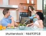 man and woman eating salad and...   Shutterstock . vector #46693918