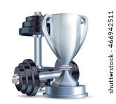 silver cup with metal realistic ... | Shutterstock .eps vector #466942511
