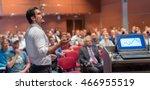 speaker giving a talk on...   Shutterstock . vector #466955519