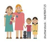 lesbians family whith children... | Shutterstock .eps vector #466984715