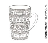 vector hand drawn pot with... | Shutterstock .eps vector #466990871