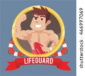 life guard in emblem with banner   Shutterstock .eps vector #466997069