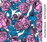 trendy pink peony seamless | Shutterstock .eps vector #467010359