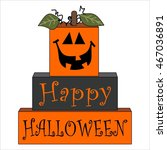 square cheerful pumpkin... | Shutterstock .eps vector #467036891