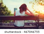 girl enjoying city view from a... | Shutterstock . vector #467046755