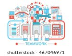 modern flat thin line design... | Shutterstock .eps vector #467046971