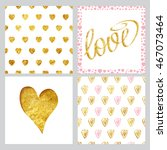 set of card templates with gold ... | Shutterstock .eps vector #467073464
