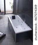 Small photo of bathroom desing stone tiles clean ambient