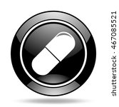 drugs black glossy icon | Shutterstock . vector #467085521
