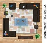 sofa  armchair  pillows  carpet ... | Shutterstock .eps vector #467121365