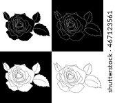 set of black and white roses... | Shutterstock .eps vector #467123561