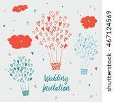 draw by hand wedding postcards... | Shutterstock . vector #467124569