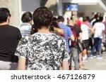 people  queue  in  line up   ...   Shutterstock . vector #467126879