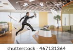 jumping businessman in office . ... | Shutterstock . vector #467131364