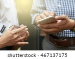 man and woman using smartphone... | Shutterstock . vector #467137175