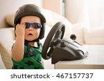 cute little kid boy in a helmet ... | Shutterstock . vector #467157737
