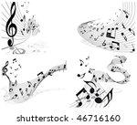 vector musical notes staff...   Shutterstock . vector #46716160