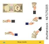 set of indian rupee. holding ... | Shutterstock .eps vector #467170205