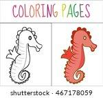 Coloring Book Page  Seahorse....