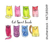 watercolor doodle cat... | Shutterstock . vector #467185049